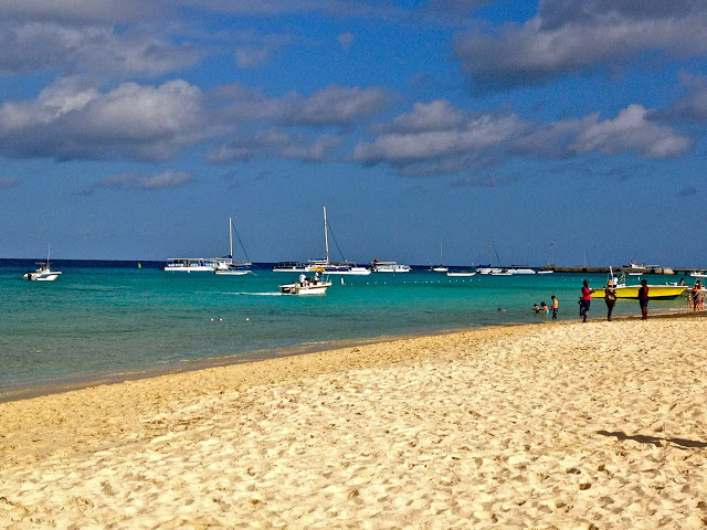 Grand Turk beach with boats in the water