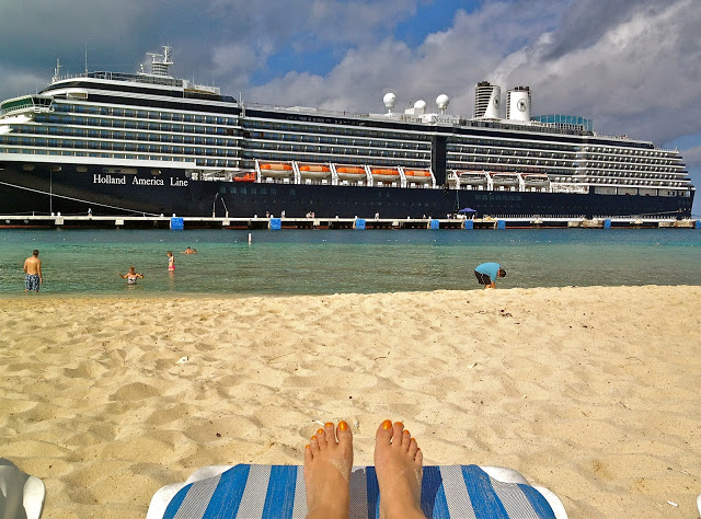 Grand Turk beach with the Holland America cruise ship in the water