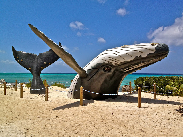Whale sculpture in the sand