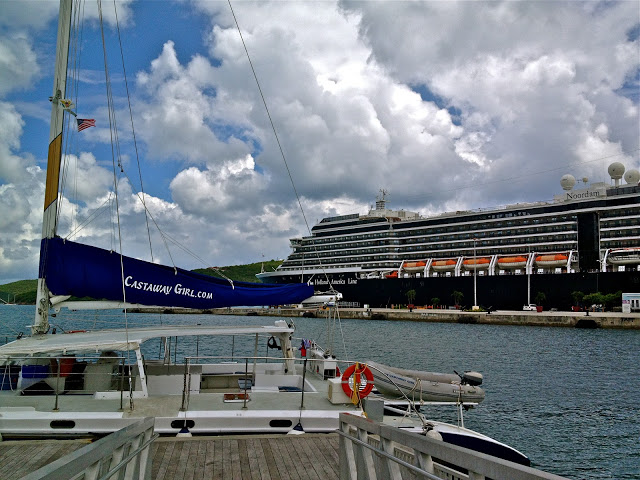 Castaway Girl Catamaran with the Noordam in the background