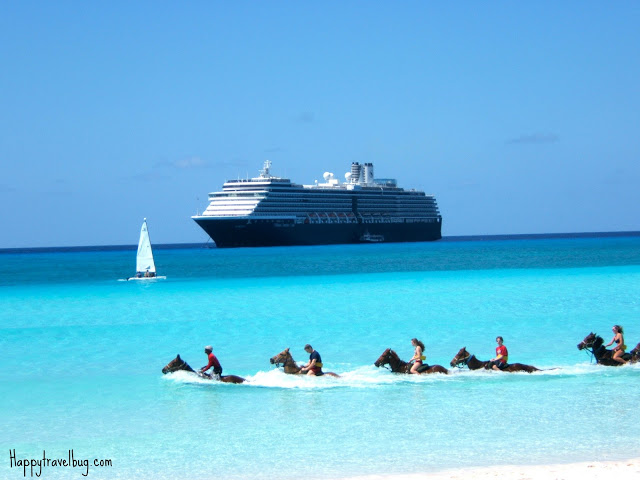 Horseback riding in the ocean with the cruise ship behind
