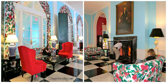 Large fireplace at the Greenbrier