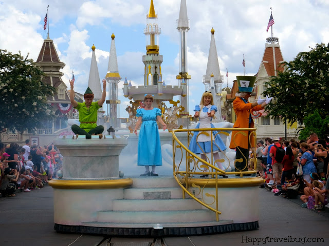 Peter Pan, Wendy, Alice in Wonderland and the Mad Hatter on parade