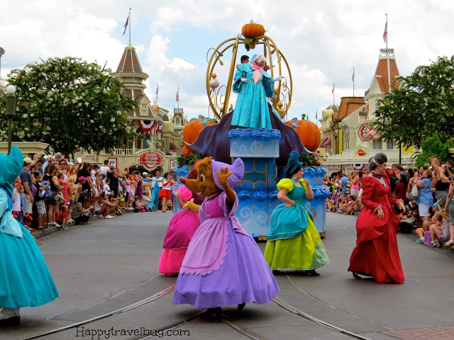 The whole gang from Cinderella on parade at Disney World