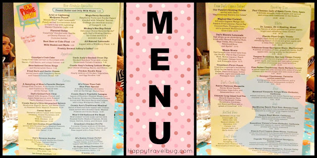 The Menu at 50's Prime Time Cafe in Hollywood Studios