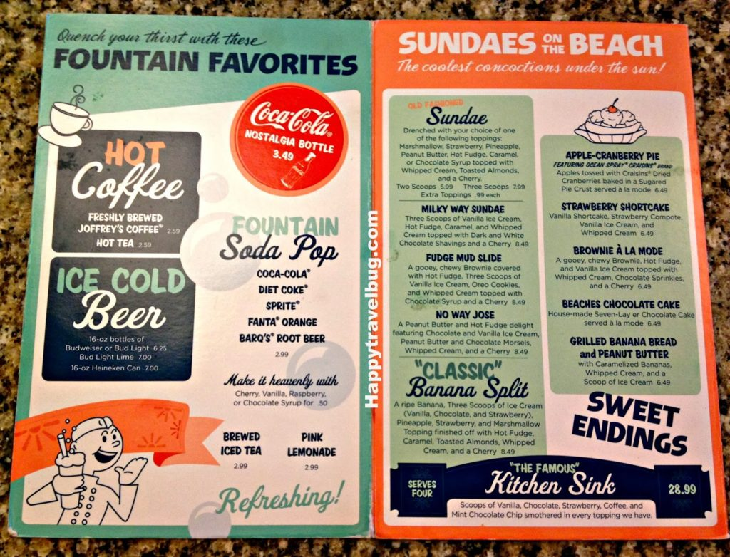 Dessert menu at Beaches and Cream in Disney World