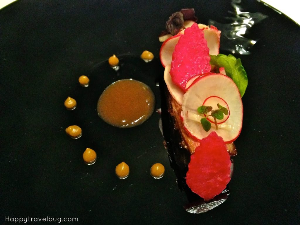 Wagyu beef short rib in aromatics, spiced radish, umeboshi from TRU restaurant in Chicago