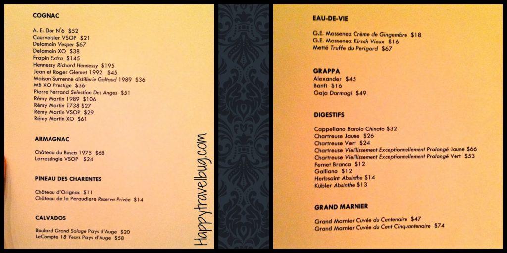After dinner drink menu at TRU restaurant in Chicago