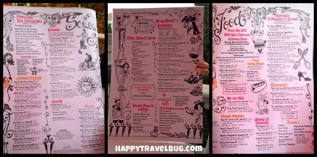 Menu from Serendipity 3 in Las Vegas