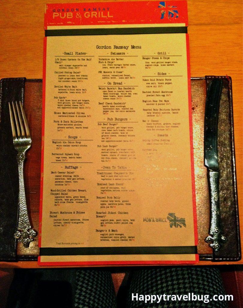 Gordon Ramsay Pub and Grill menu