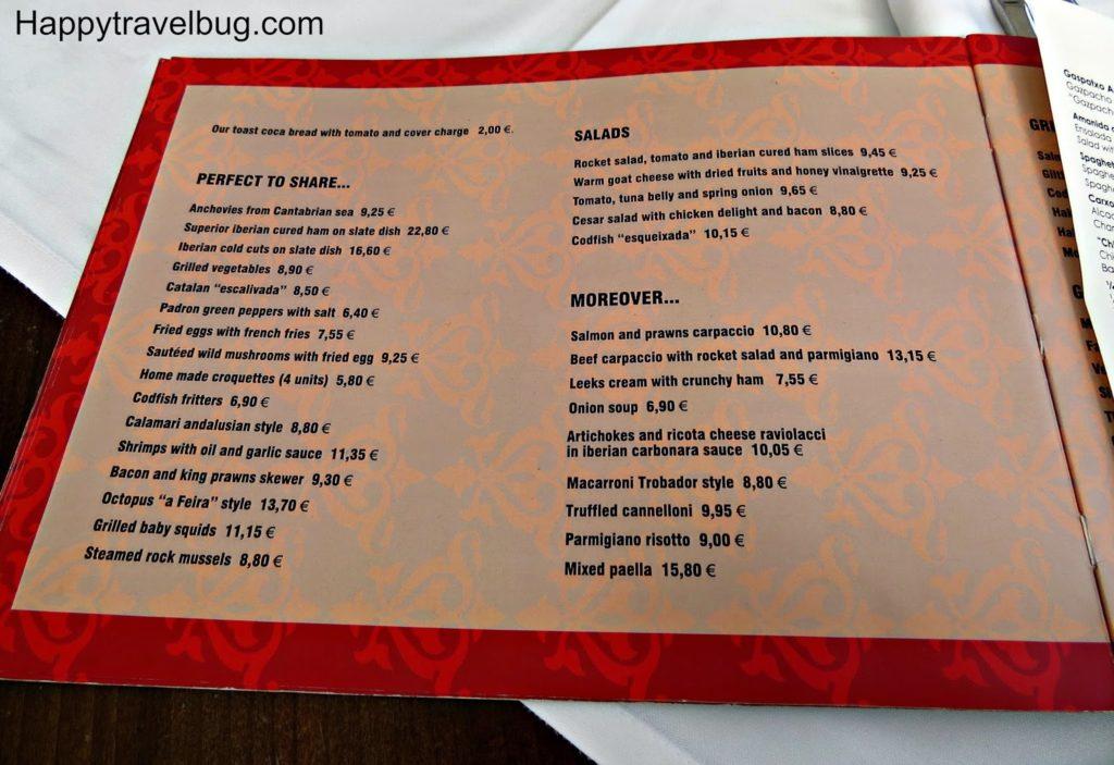 menu at Trobador Restaurant in Barcelona, Spain