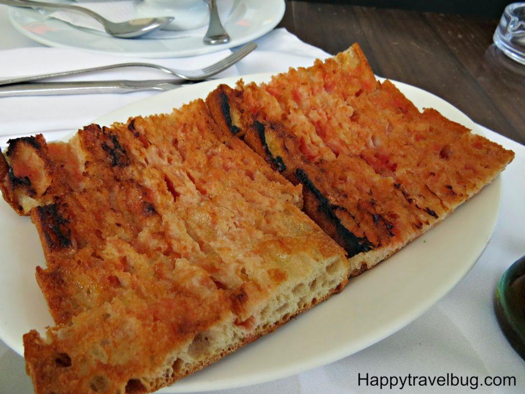 Bread with tomato at Trobador in Barcelona, Spain