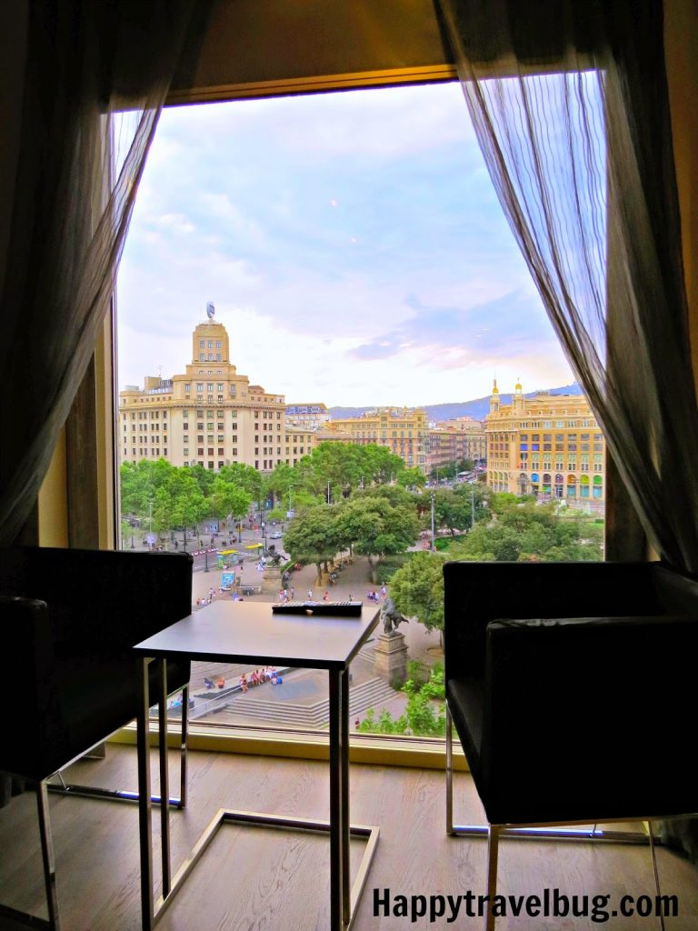 View from our room at the Olivia Plaza Hotel in Barcelona, Spain