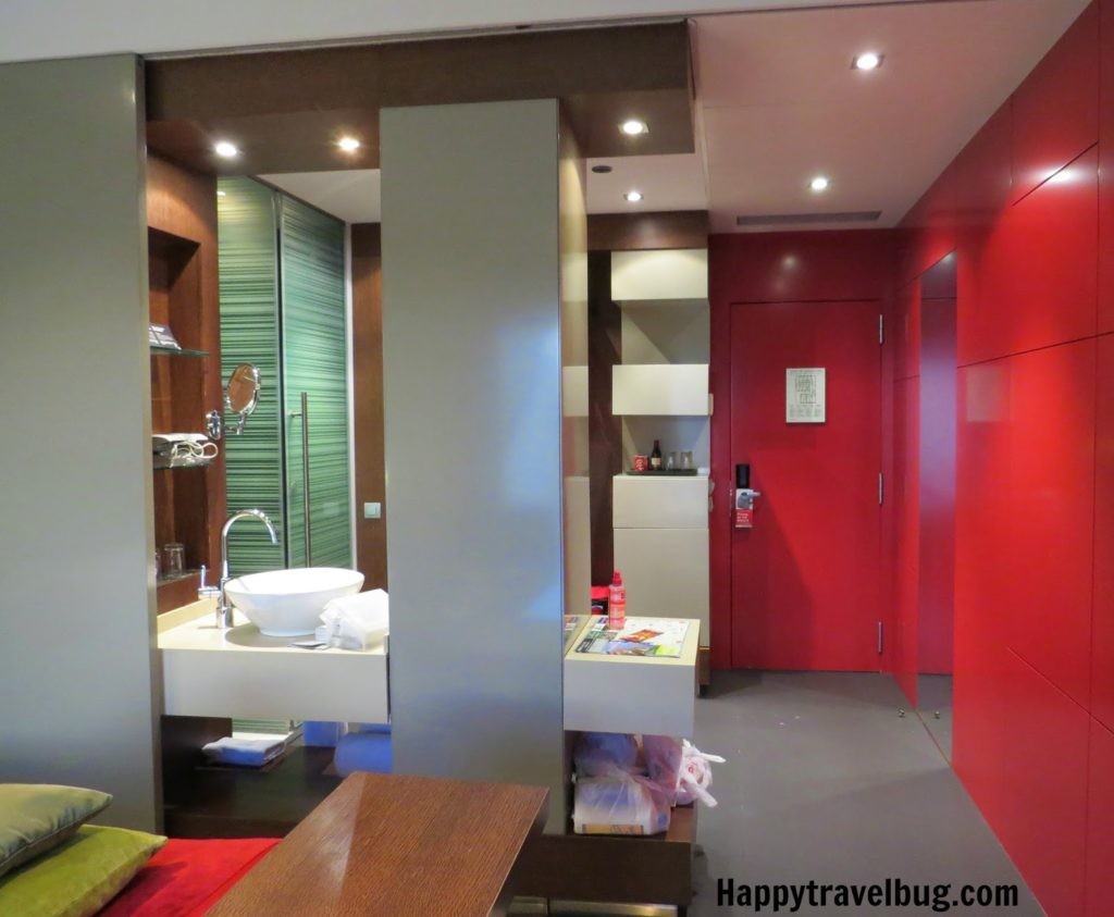 Modern bathroom with red walls