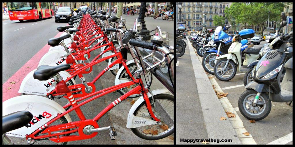 Bikes on the Catalunya Plaza in Barcelona, Spain