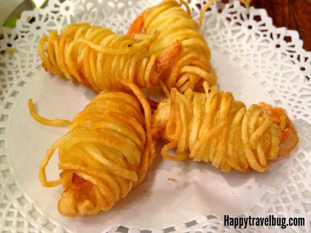 Potato wrapped shrimp from Cerveceria in Barcelona, Spain