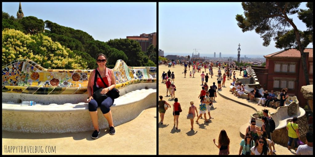 Serpent mosaic bench at Park Guell in Barcelona, Spain