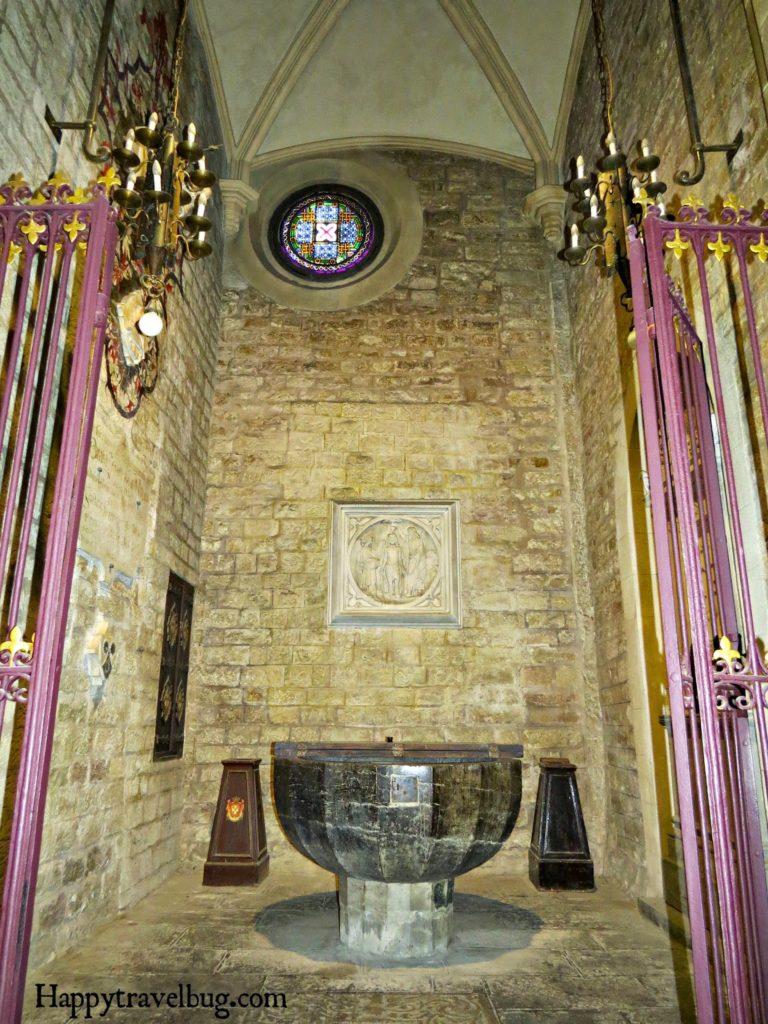 The baptismal fount in The Basilica Santa Maria del Pi