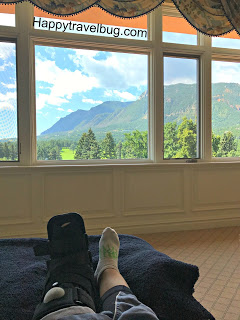 Relaxing in the Broadmoor spa with my boot