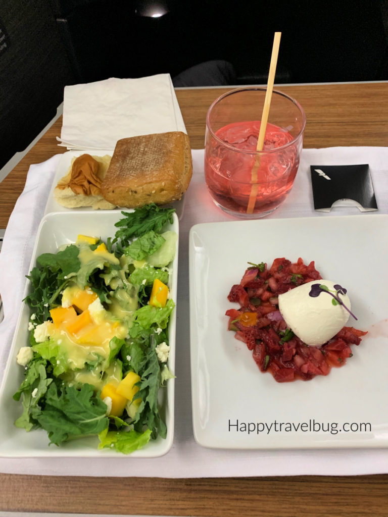 salad and strawberry salsa with burrata cheese