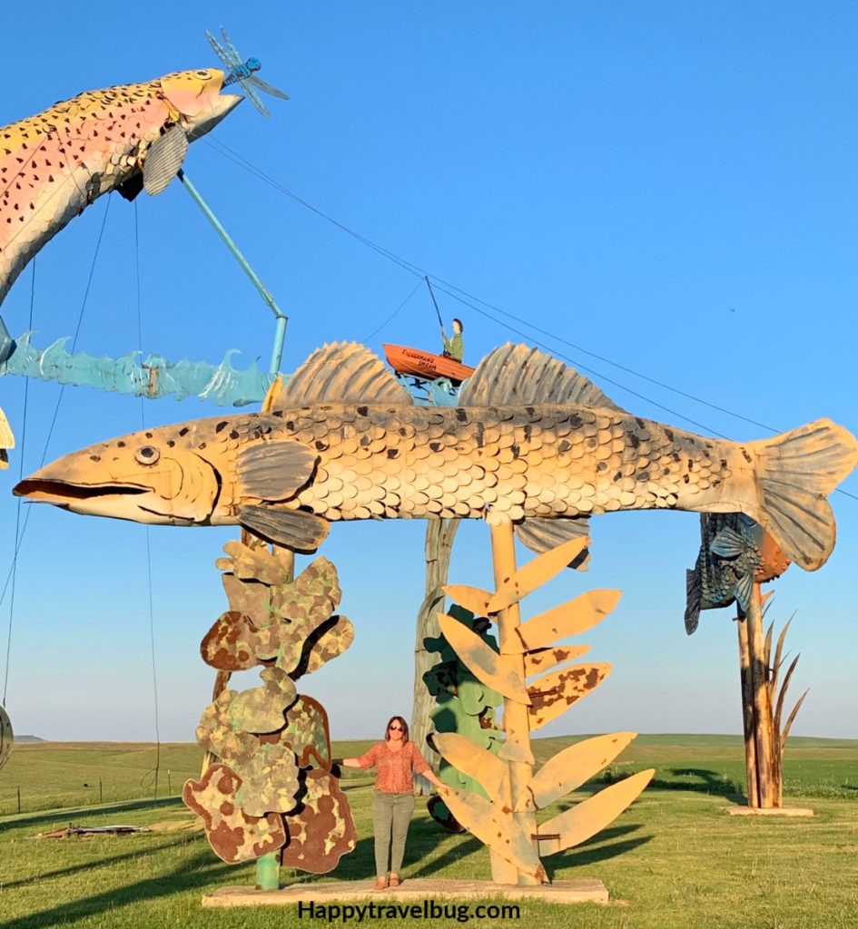 Giant metal sculpture of a fish
