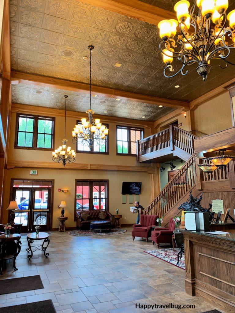 Rustic hotel lobby