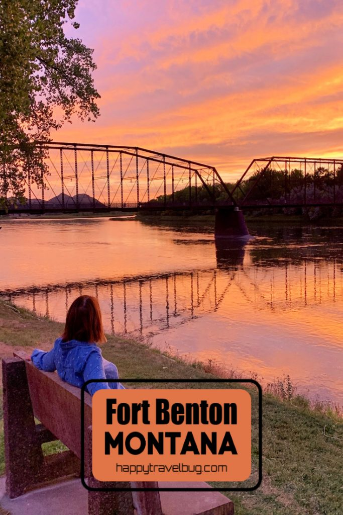Bridge over the Missouri River in Fort Benton Montana at sunrise